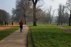 Man jogging. A man running in a park stock photos