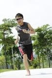 Man Jogging Barefoot Royalty Free Stock Photography