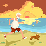 Man jogging with dog. The old man jogging with his dog on the sea beach. Flat Cartoon Character of pet and his owner. Colorful Vector Illustration eps 10 Stock Photos
