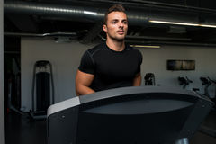 Man Jogging In A Gym Stock Images