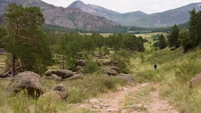 Man Jogging on the Mountain Valley. Middle-aged stock footage