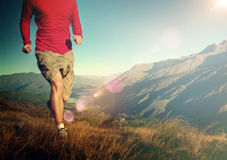 Man Jogging Mountains Exercise Healthy Concept.  royalty free stock photo