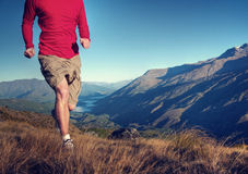 Man Jogging Mountains Exercise Wellbeing Concept Stock Photos