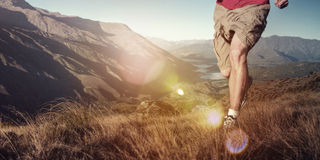 Man Jogging Mountains Exercise Wellbeing Concept stock photography