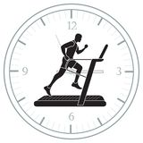 Man jogging on a treadmill and clock. Healthy lifestyle and physical activity Stock Photos