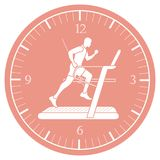 Man jogging on a treadmill and clock. Healthy lifestyle and physical activity Stock Images