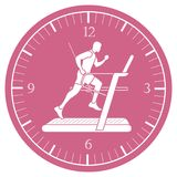 Man jogging on a treadmill and clock. Healthy lifestyle and physical activity Stock Image