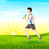 Man jogging for wellness Stock Photo