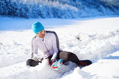 Man jogging in winter nature Stock Photography