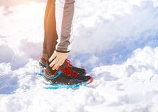 Man jogging in winter nature Royalty Free Stock Images