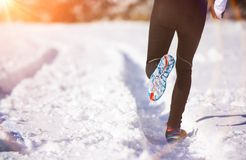 Man jogging in winter nature Stock Photo