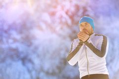 Man jogging in winter nature Royalty Free Stock Photo