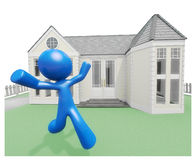 Man Joyous and Happy Over New Home. Man running with joy and happiness with new home Royalty Free Stock Photo