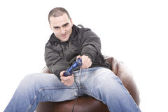 Man with a joystick for game console Stock Photography