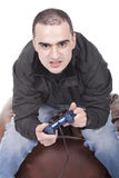 Man with a joystick for game console Royalty Free Stock Photography