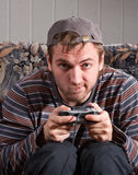 Man with joystick playing video games Royalty Free Stock Images