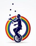A man juggling balls while cycling Royalty Free Stock Image