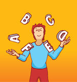 Man juggling letters playing with education or alphabet Stock Photography