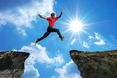 Man jump. Through the gap. Element of design royalty free stock images