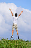 Man jump freely royalty free stock photography
