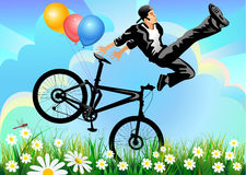 Man jump on muontain-bike Royalty Free Stock Image