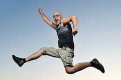 Man jump outdoor sunset Royalty Free Stock Image