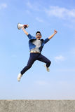 Man jump and shout megaphone Royalty Free Stock Photography