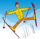 Man jump on ski cartoon illustration Royalty Free Stock Image