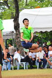 man jump to kick the ball in game of Kick Volleyball,sepak takraw Royalty Free Stock Images