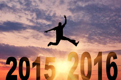 Man in a jump between 2015 and 2016 years Stock Photography