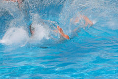 Man jumped into the pool Stock Image