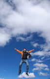 Man jumping. One man is jumping into the sky Stock Image