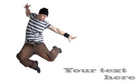 Man jumping. With text sample isolated on white Royalty Free Stock Photo