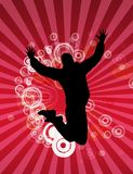 Man jumping. Happy jumping man on red circle background Royalty Free Stock Photo