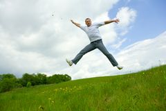 The man jumping Stock Photo