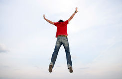 Man Jumping. Man Flying In The Air royalty free stock image