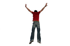 Man Jumping. Put Your Hands Up In The Air stock photo