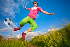 Man jumping against the blue sky Royalty Free Stock Photography