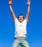Man jumping in the air Stock Image