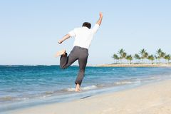 Man jumping at beach Royalty Free Stock Photo