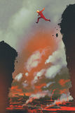 Man jumping on the cliff. Against lava landscape background,illustration painting Stock Photo