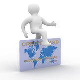 Man jumping a credit card. 3D image Royalty Free Stock Photography