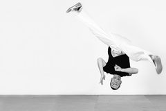 Man jumping, dancing capoeira. Black and white Royalty Free Stock Photography