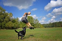 Man jumping with dog. In the park at sunny day stock image