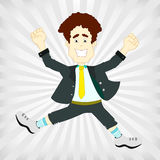 Man jumping happy and victorious on a gray backgro Royalty Free Stock Image