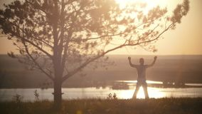 Man jumping on a hill, capoeira training, at sunset, slow-motion stock footage