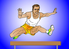Man jumping on hurdle Stock Image