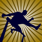 A man jumping in hurdle Race elegant gold Royalty Free Stock Photo