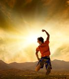 Man Jumping In Mountains Royalty Free Stock Photo
