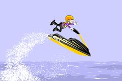 Man jumping with a jet ski on the sea Stock Photos